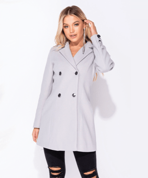 Silver Button Detail Double Breasted Coat