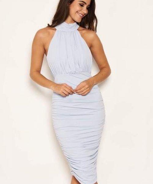 iced blue high neck dress