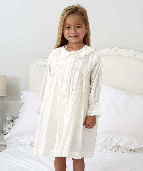 Ivory Smocked Dressing Gown ML049N (1)