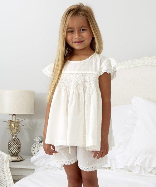 Ivory Smocked Short Pyjama ML050N (2)