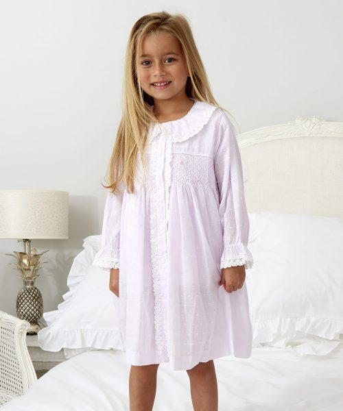 Pink Smocked Dressing Gown ML051N