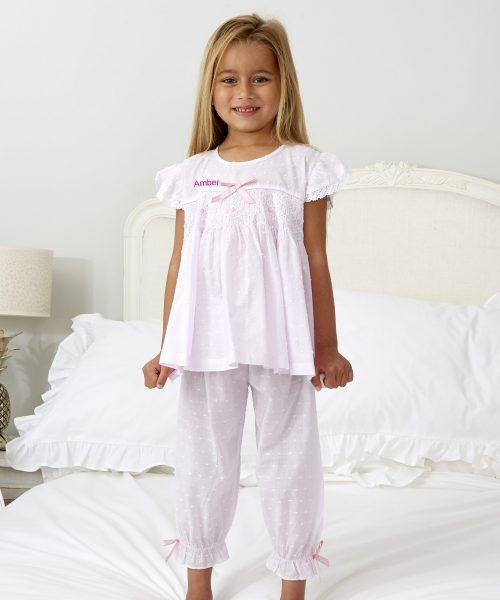 Pink Smocked Short Pyjamas months ML047N Embrodiery