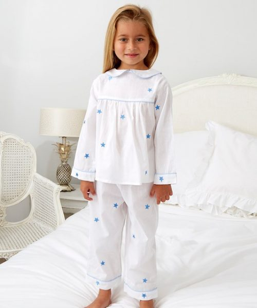 White Pyjamas with Blue star Embroidery and Round Collar ML043N